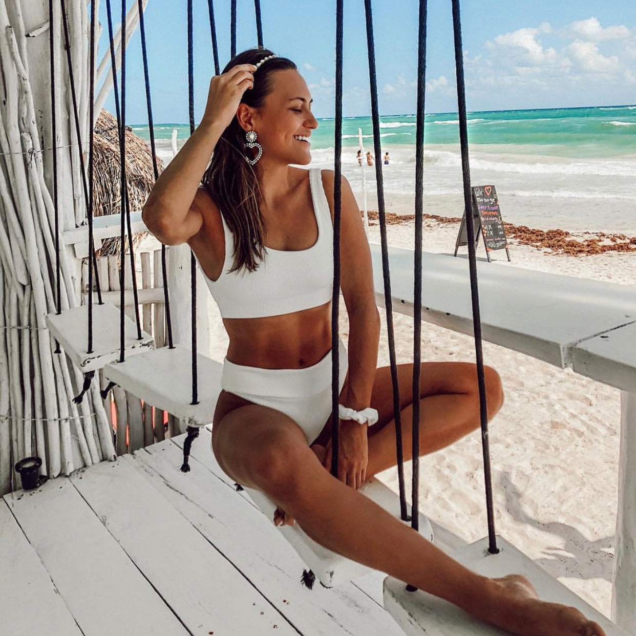 Long Crop Bikini Top - White Ribbed