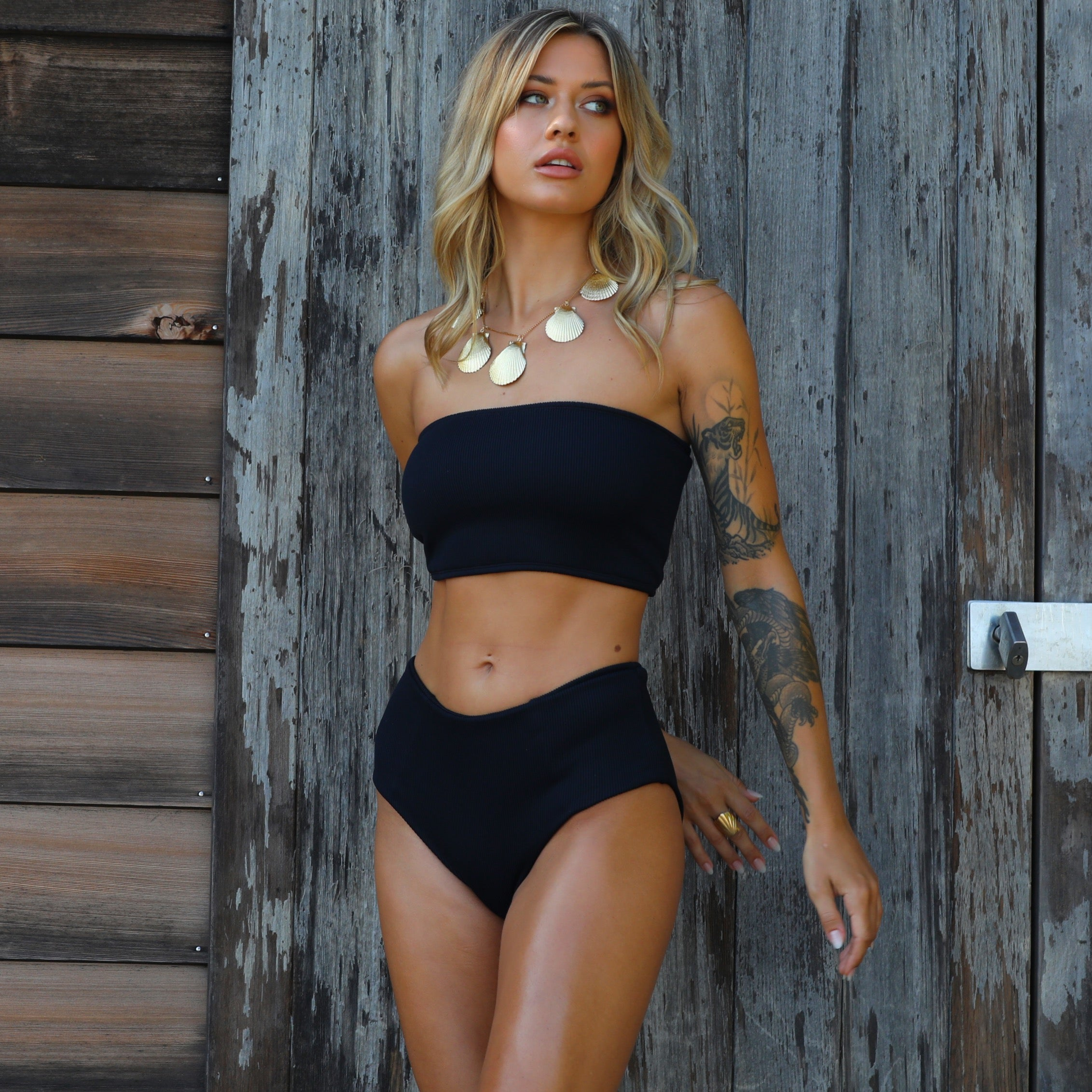 Long Tube Bikini Top - Pitch Black Ribbed