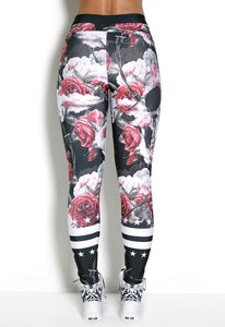 Legging Elastic Red Roses