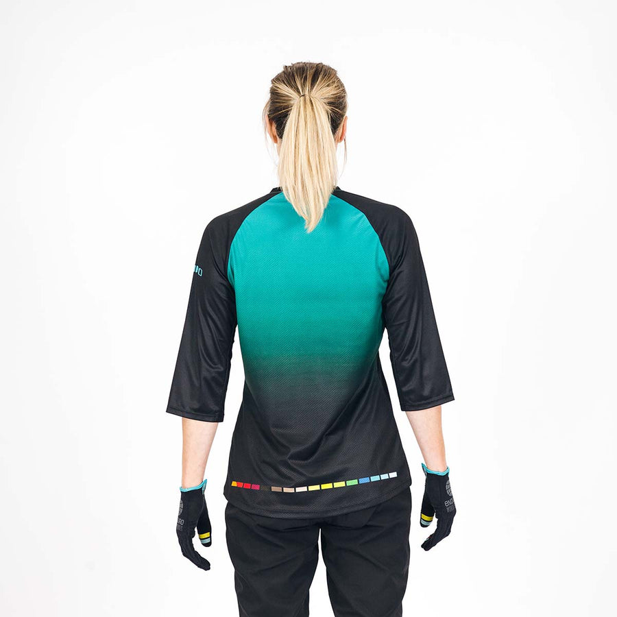 SALE Giro x EWS 3/4 sleeve Stage Riding Jersey - Womens Teal Fade