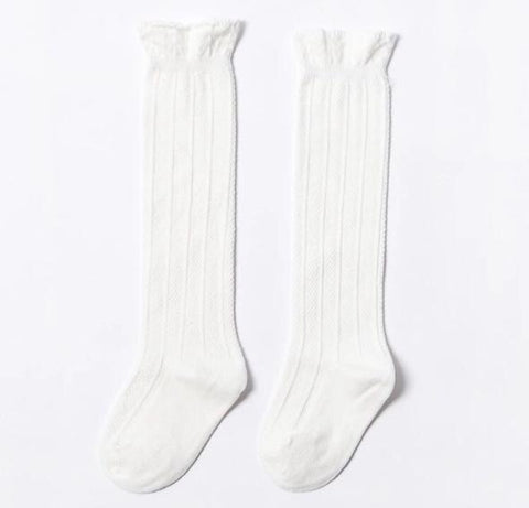 West Coast Moccs- Knee high socks- White