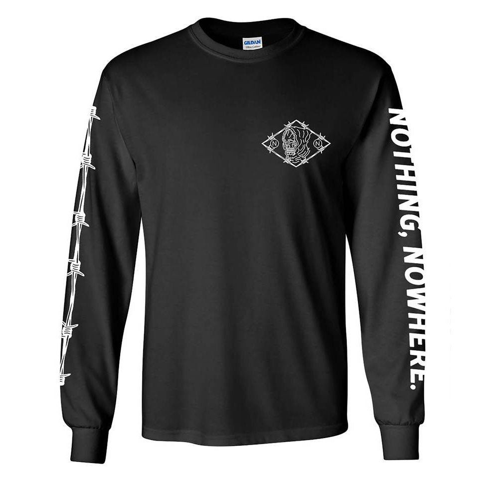 BARBED WIRE LONG SLEEVE BLACK TEE | Nothing Nowhere Official Store