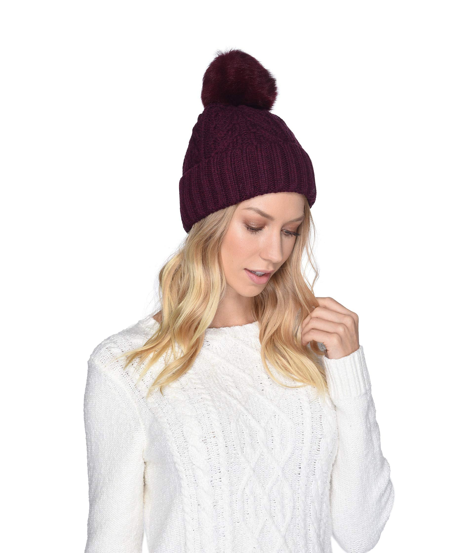 UGG® Cable Knit Pom Beanie-Port