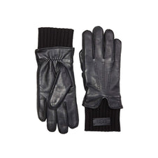 UGG Leather with Knit Cuff Glove-Black