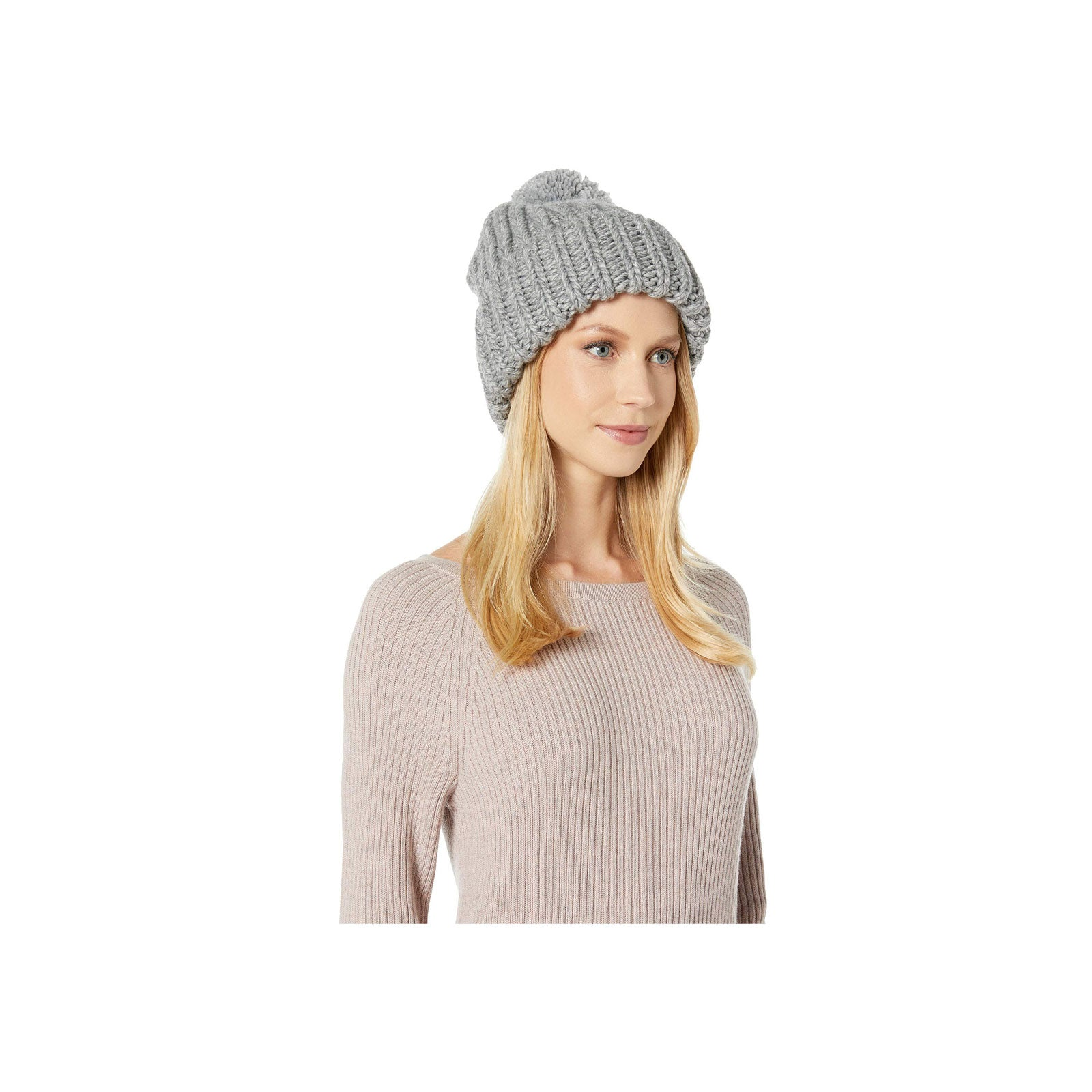 UGG Chunky Wide Cuff Beanie-Light Grey