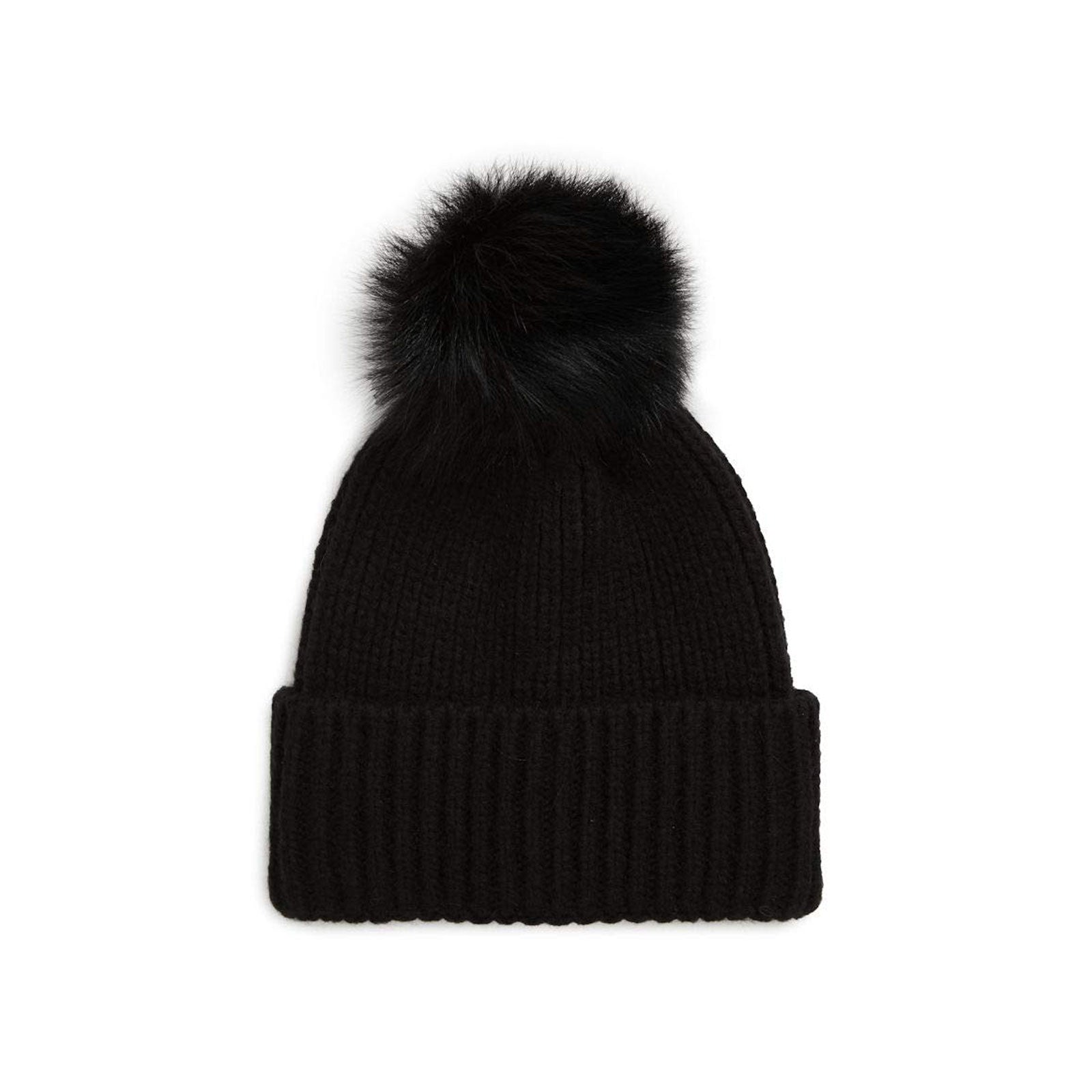UGG Rib Beanie with Pompom-Black