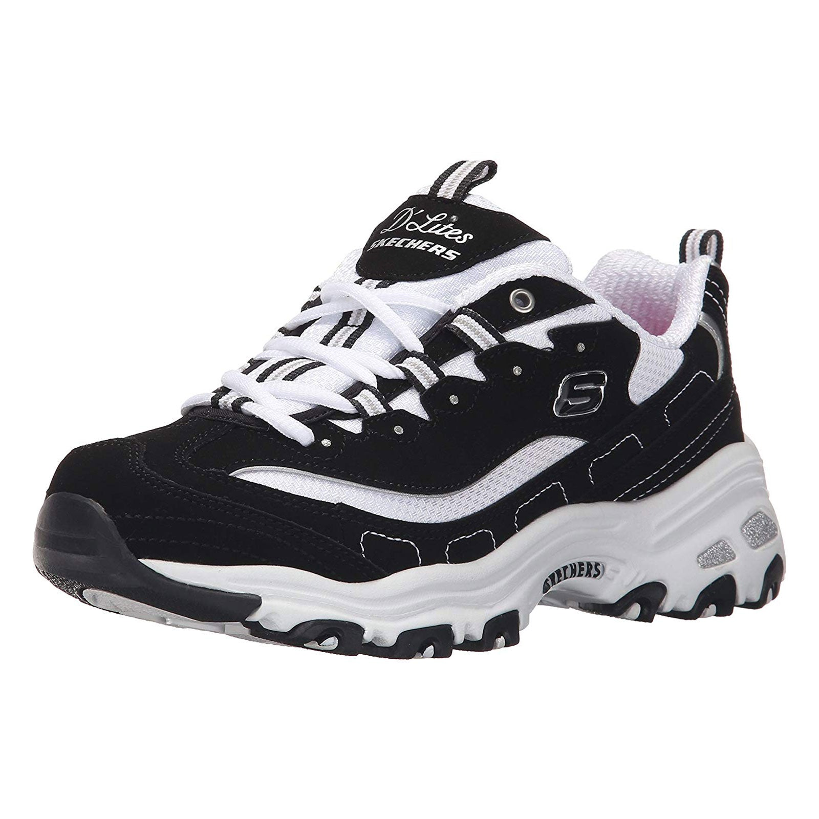 Skechers D'Lites Biggest Fan-Black/White