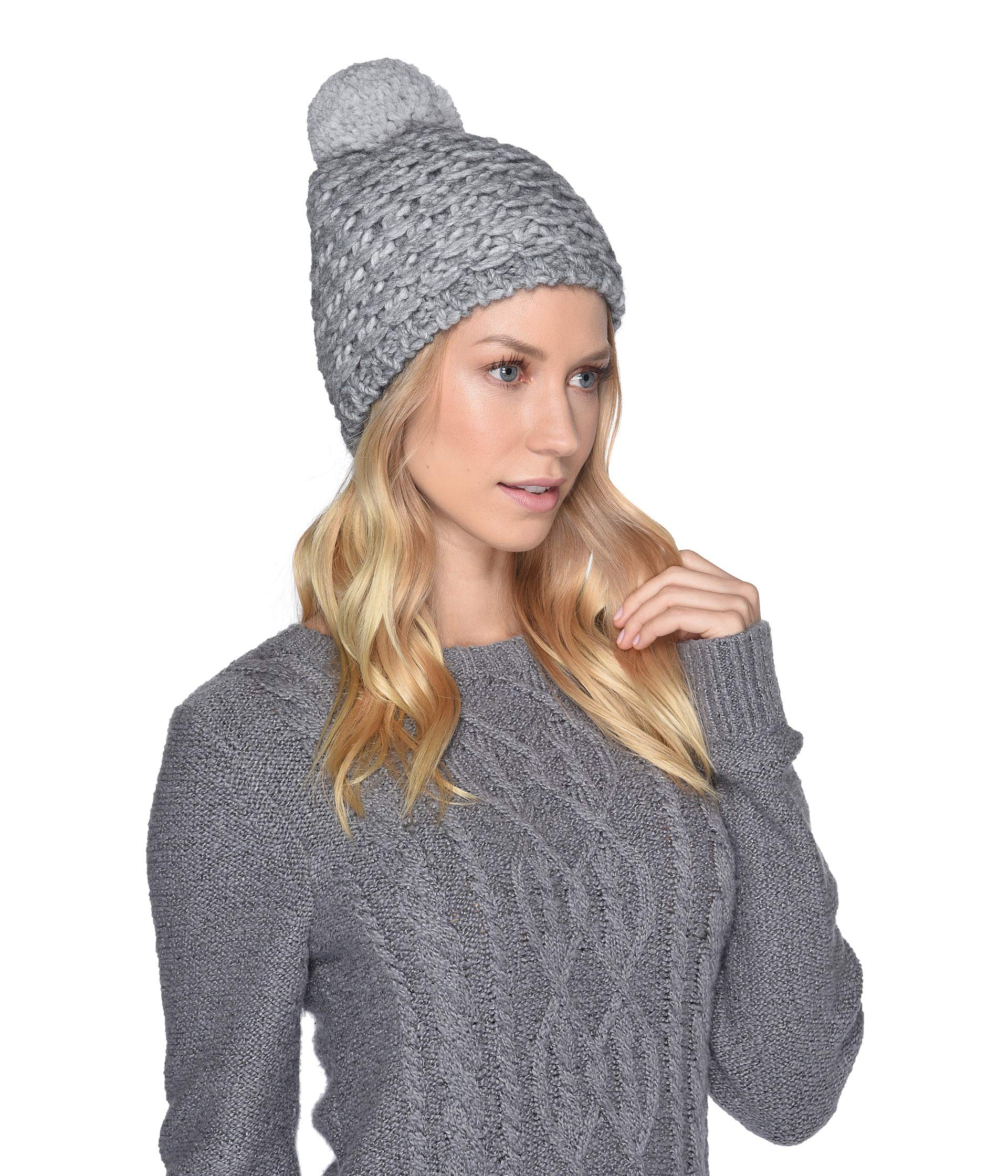UGG Yarn Pom Knit Hat-Light Grey