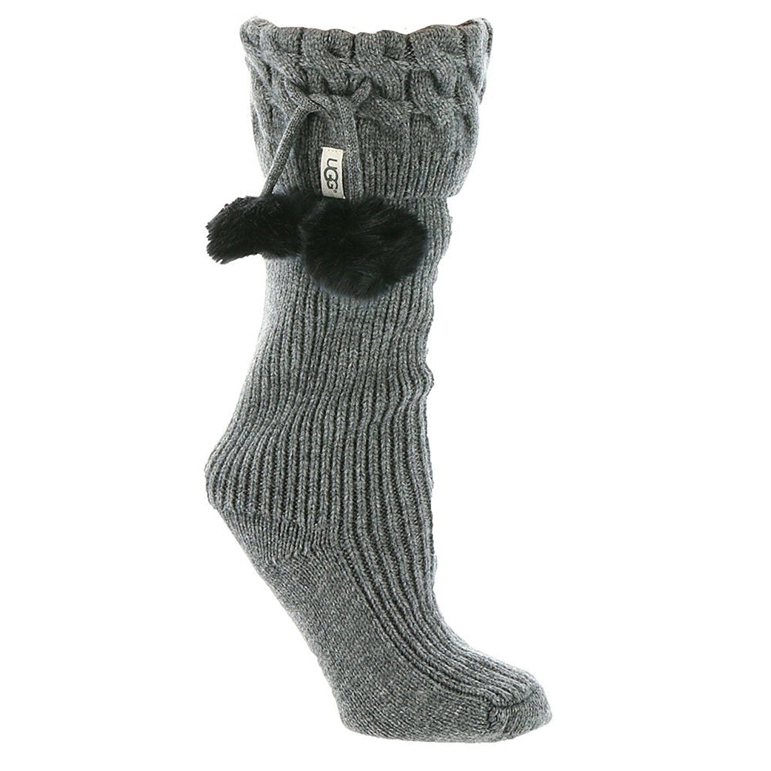 UGG® Pom Pom  Tall Rainboot Sock-Charcoal Heather