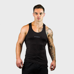 Kwench Mens Yoga Gym Vest Tank Stringer Hunk black Main-image