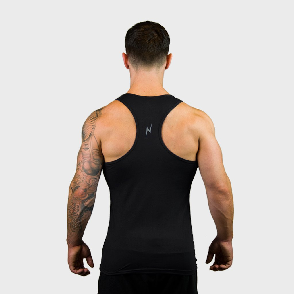 Kwench Mens Yoga Gym Vest Tank Stringer Hunk black