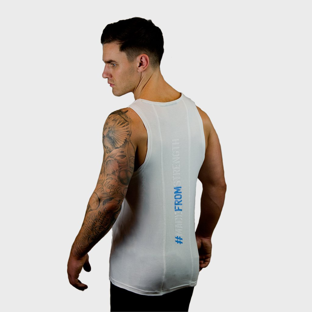 Kwench Mens Gym Vest Tank Stringer Hunk White
