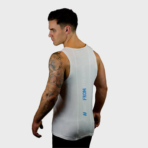 Kwench Mens Gym Vest Tank Stringer Hunk White Thumbnails-1