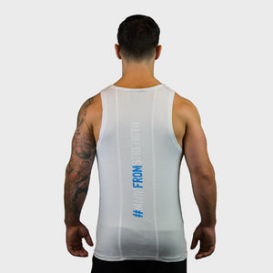 Kwench Mens Gym Vest Tank Stringer Hunk White Thumbnails-2