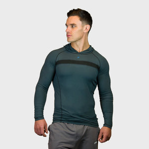 Kwench Crux Mens long sleeve moisture wicking Tshirt with hood Thumbnails-1