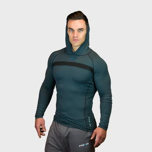 Kwench Crux Mens long sleeve moisture wicking Tshirt with hood Thumbnails-3