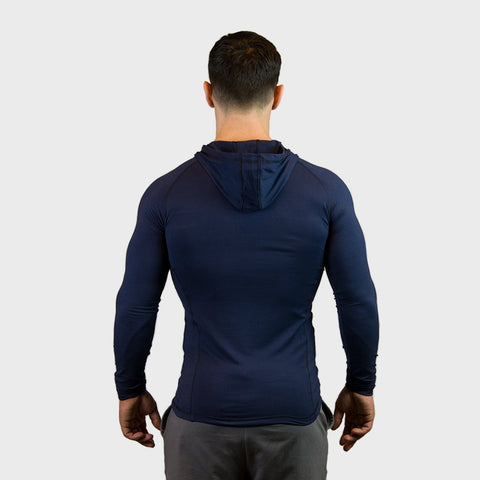 Kwench Crux Mens long sleeve moisture wicking Tshirt with hood