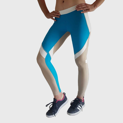 Womens Yoga & Gym Fitness Leggings | Flex | Brown - Blue