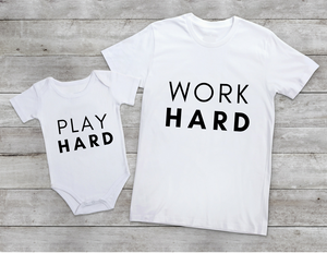 PLAY/WORK HARD Tee and babaygrow Set
