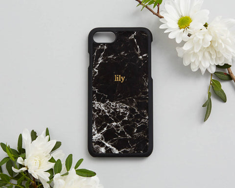 Any Personalised Black Marble Phonecase