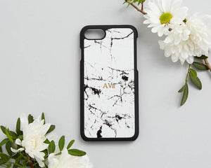 Any Personalised White Marble phone case