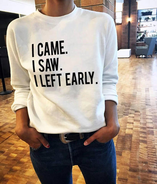 LEFT EARLY Print Unisex Sweater