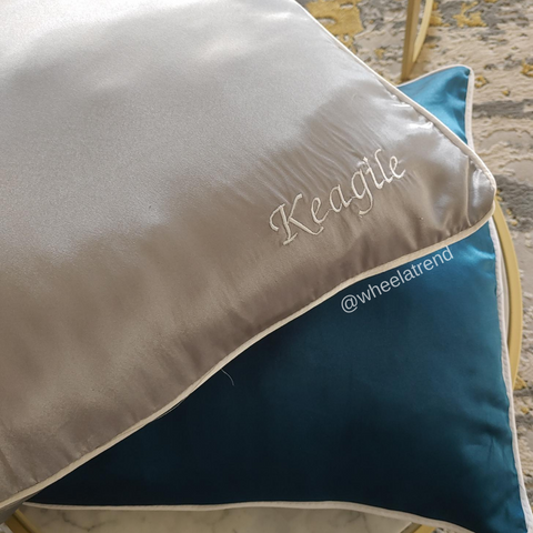 Personalised Embroidery Satin Pillowcase Covers (Set of 2)