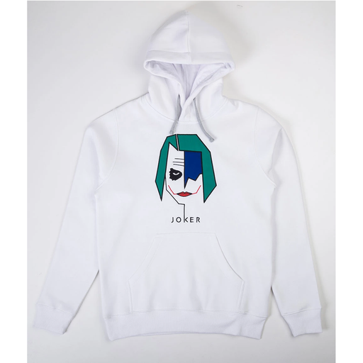 Joker White Embroidered Hoodie