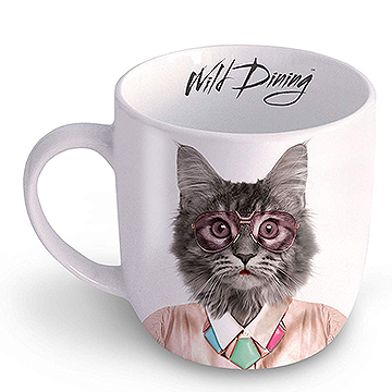 Wild Dining Cat Ceramic Mug