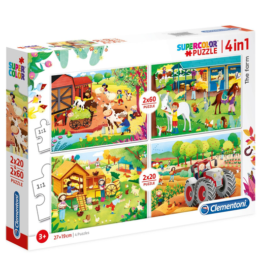 Clementoni, The farm 2x20 & 2x60 Super Color Puzzle