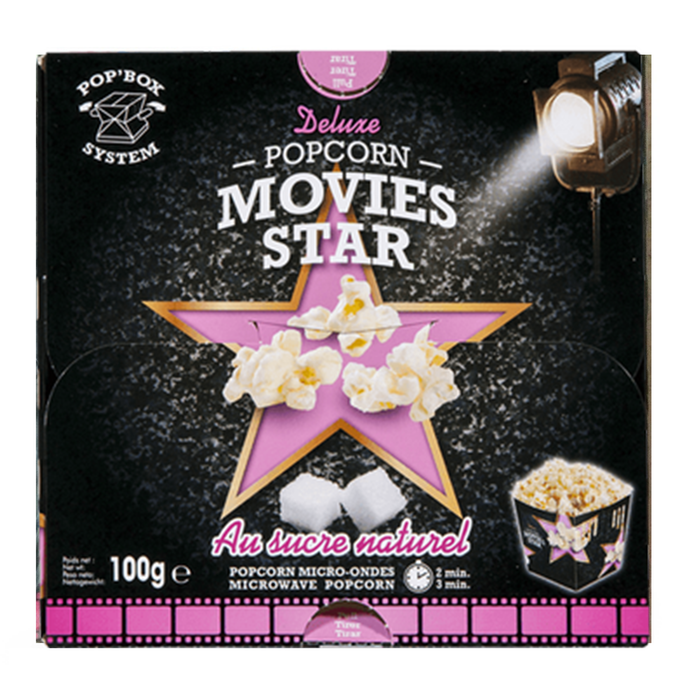 Movies Star Au Sucre Natural Microwave Popcorn 100g
