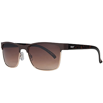 Zippo Gradient Brown Semi-Rimless Sunglasses