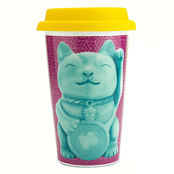 Reusable Lucky Cat Design Ceramic Travel Coffee Cup
