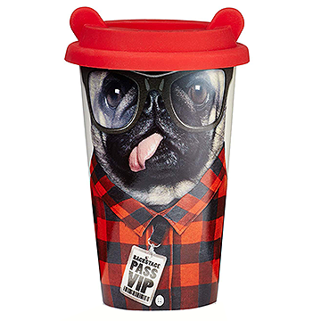 Reusable Crew Dog Design Ceramic Travel Coffee Cup