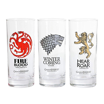 Stark, Targaryen & Lannister 3 Piece Glass Set  - Game of Thrones