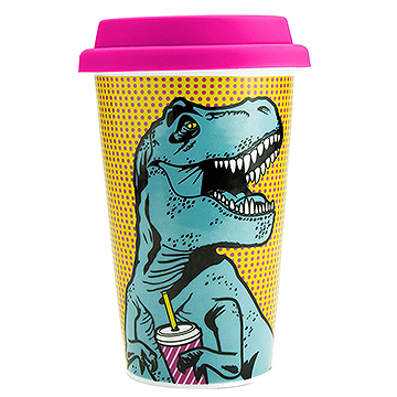 Reusable T-Rex Design Ceramic Travel Coffee Cup