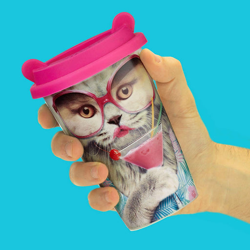 Reusable Cat Design Ceramic Travel Coffee Cup