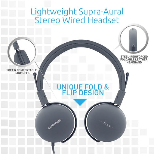 Promate Lightweight Soul Stereo Wired Headset (Grey)