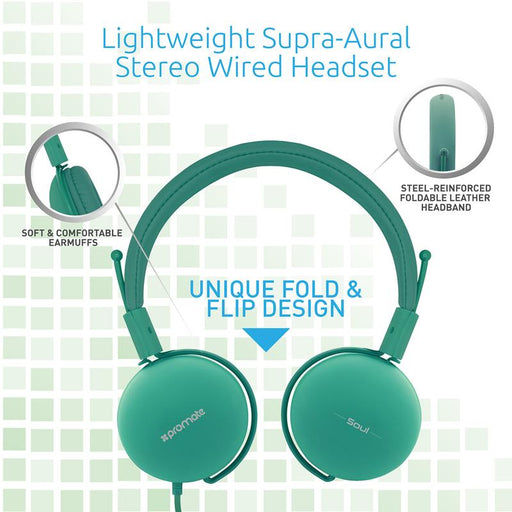 Promate Lightweight Soul Stereo Wired Headset (Green)