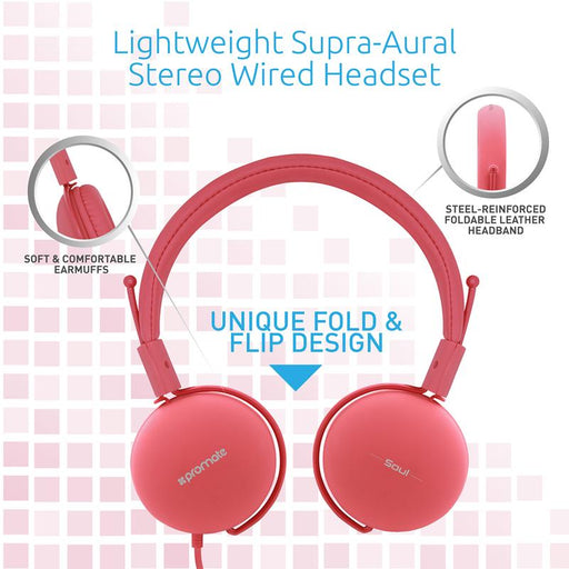 Promate Lightweight Soul Stereo Wired Headset (Pink)