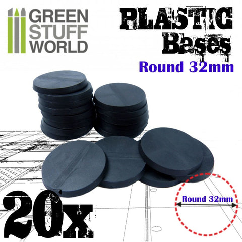 Plastic Bases- 32mm Round Black