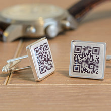 Secret Message Personalised QR Cufflinks For Boyfriend