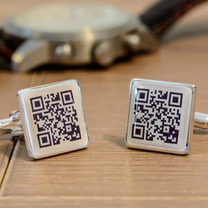Secret Message Personalised QR Cufflinks For Husband