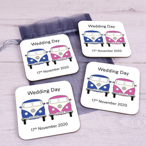 Personalised Couple Camper Van Coaster Set - Set of 4