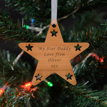 Hanging Star Personalised Engraved Christmas Tree Decoration