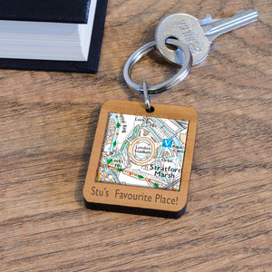 Favourite Place Football Stadium Map Wooden Key Ring