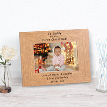 To Daddy On Our First Christmas Personalised Engraved Photo Frame Gift