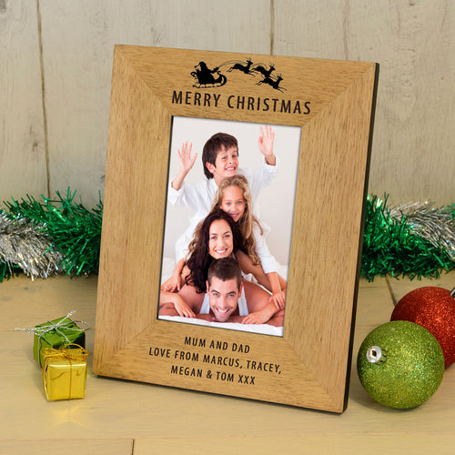 Merry Christmas Personalised Engraved Photo Frame Gift