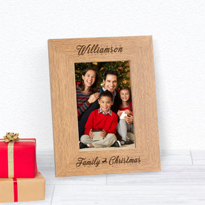 Family Christmas (Reindeer) Personalised Engraved Photo Frame Gift