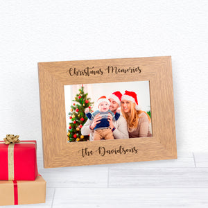 Christmas Memories Personalised Engraved Wood Photo Frame Gift